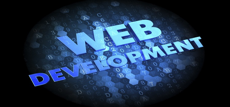 Web Development - Blue Color Text on Dark Digital Background.